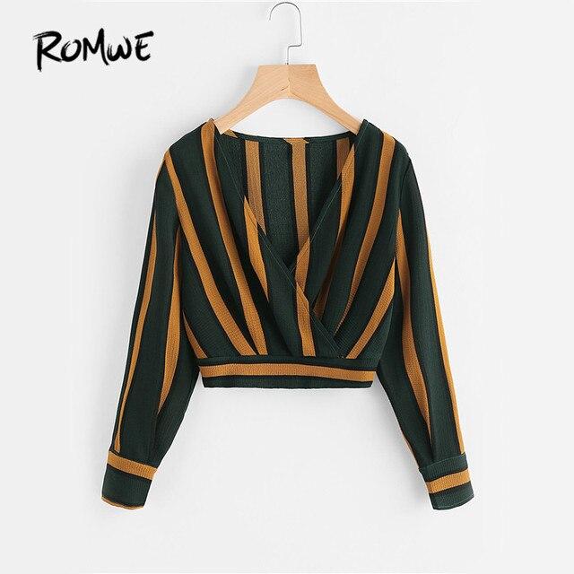 585b90ce56c ROMWE Yellow Stripe Crop Tops Wrap V Neckline Ruched Blouse Fall 2019  Fashion Women Elegant Button Long Sleeve Sexy Blouse