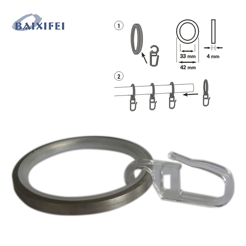 50 Pcs D42mm Rings with sliding insert and folding hook , Curtain Rod Rings for Window Decoration