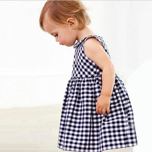 2016 In the summer of new products listed girl wearing sleeveless children contracted tartan dress girl's clothes