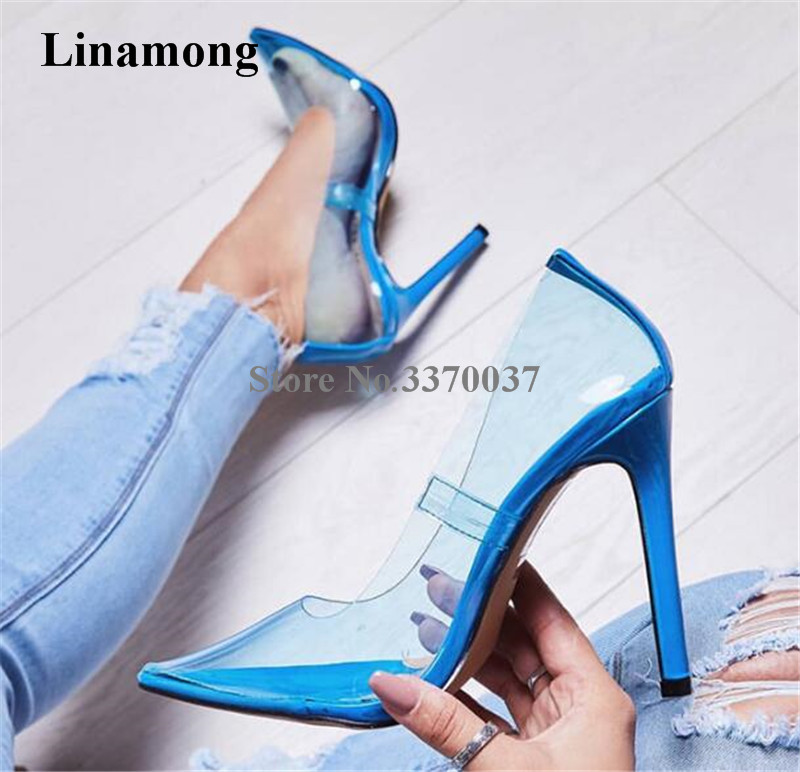 Newest Women Sexy Pointed Toe PVC Blue Yellow Pink Thin Heel Pumps Transparent Candy Colors High Heels Club Shoes Wedding Shoes цена