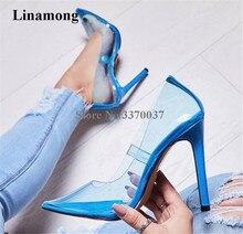 цена Newest Women Sexy Pointed Toe PVC Blue Yellow Pink Thin Heel Pumps Transparent Candy Colors High Heels Club Shoes Wedding Shoes онлайн в 2017 году