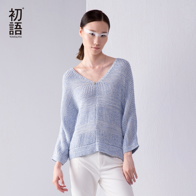Toyouth Sweaters And Pullovers 2017 New Fashion European Loose Long Sleeve Knitted Pullovers Long Women V neck Sweaters