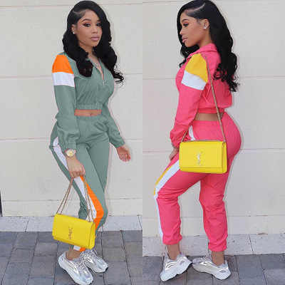 Spring safari style women tracksuit patchwork zipper up long sleeve top skinny pants suits two pieces sports equipment 3 color
