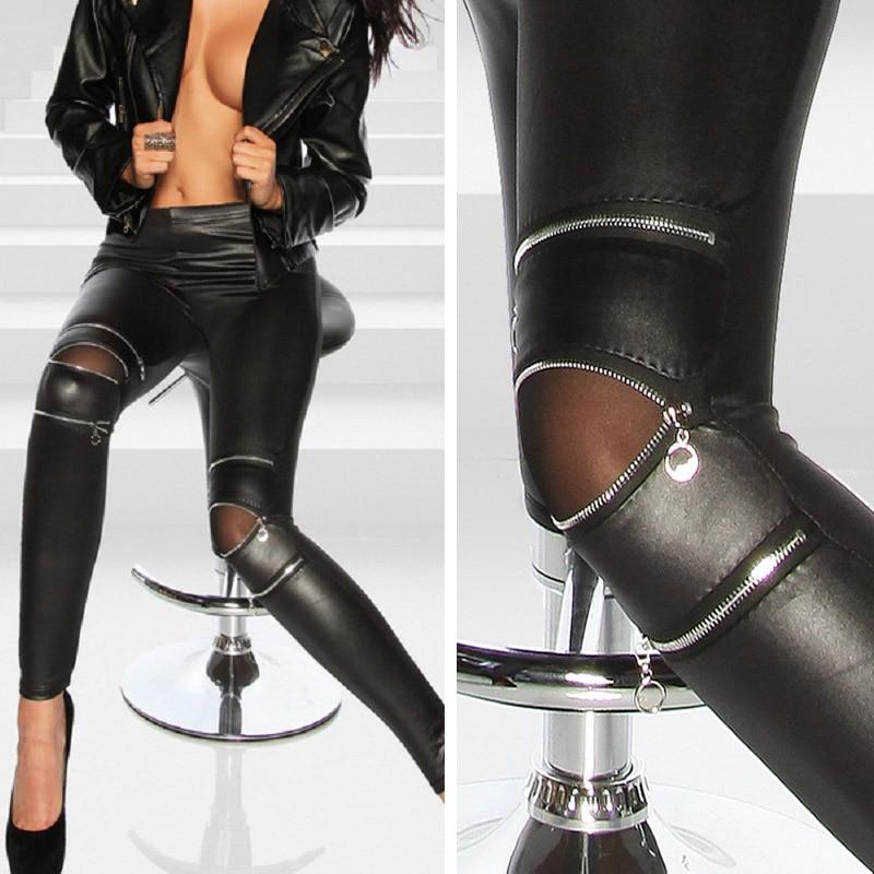 New Sexy Women Pants PU Leather Stretch Skinny Zipper Knee Casual Legging Pants Black