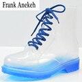 2017 Mulheres Botas De Chuva Transparente Sapatos Mulher Bota Chuva À Prova D' Água Colorido Primavera Outono Ankle Boots Grande tamanho 40
