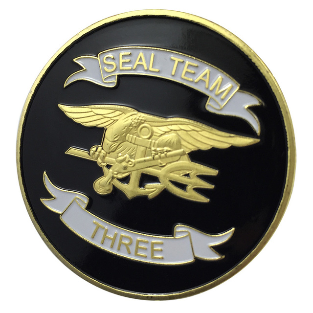 New Us Navy Seal Team Three Gold Plated Challenge Coin Badgemedal