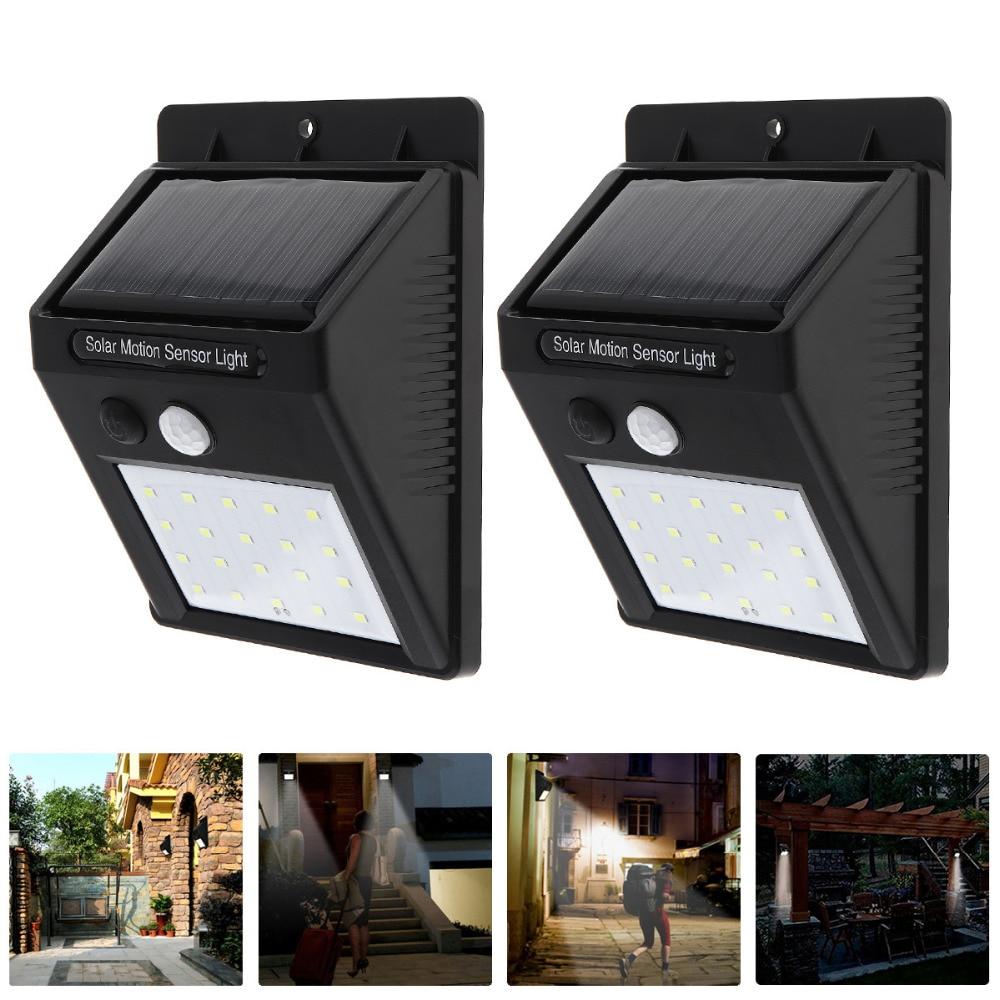2pcs/lot 20 <font><b>LED</b></font> Waterproof <font><b>LED</b></font> Solar Power PIR Motion Sensor Wall <font><b>Light</b></font> <font><b>Outdoor</b></font> Street Yard Path Home Garden Security Lamp