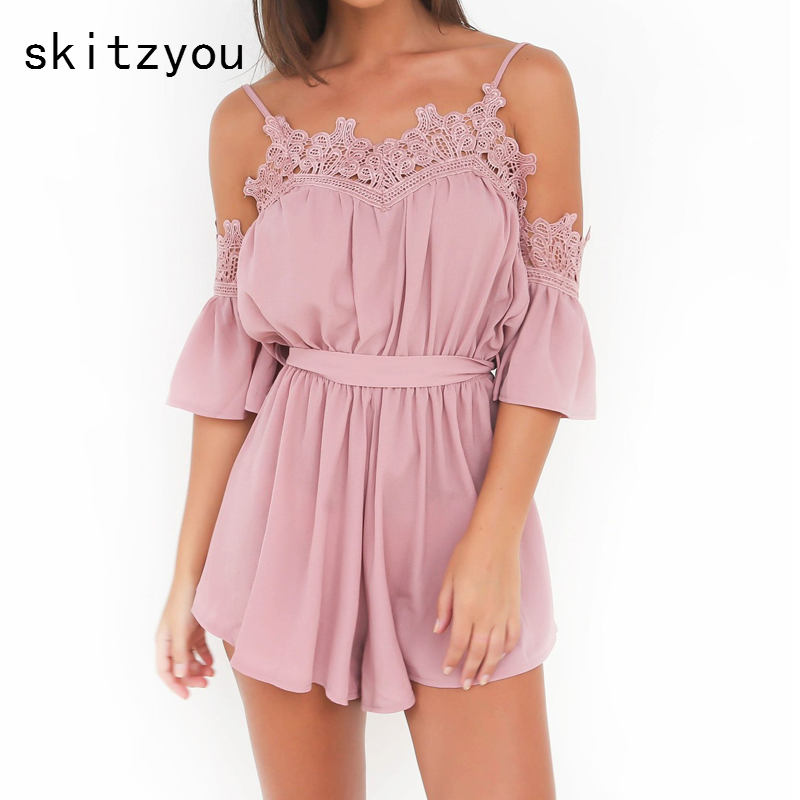 75d094df9d Detail Feedback Questions about skitzyou Boho Summer Beach Casual Women Sexy  Playsuits Spaghetti Strap Off Shoulder Chiffon Loose Short Pink Jumpsuit  with ...