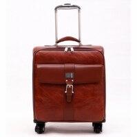 Коммерческие тележки чемодан мужской Универсальный колёса 16 винтажный багаж сумка женский из искусственной кожи в коробке, ретро коммерче