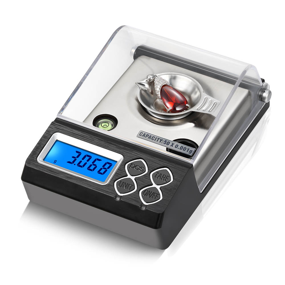 Digital Milligram Scale 0.001g Electronic Balance Powder Scale Gold Jewelry Carat Weight with Calibration Weight Tweezer +Pan