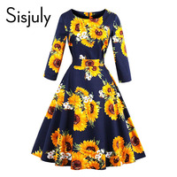 Sisjuly Women Fall Dress O Neck Print Floral Mid Calf Three Quarter Sleeve Patchwork Expansion A