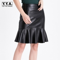 2018 New Fashion Womens Formal Skirts Trumpet Mermaid Ruffles Above Knee Genuine Leather Sheepskin Ladies Sexy Saia Falda Black
