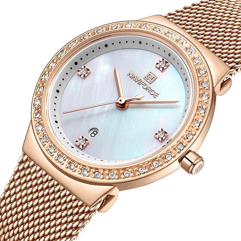 Naviforce relógio feminino luxo strass moda senhoras relógios data à prova dwaterproof água relógio de pulso quartzo feminino relogio feminino