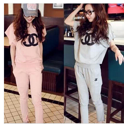 2015 Brand women clothing sets tracksuit sport Casual clothes sports wear top+sweatpants channel sweat suits - cockroach xiaoqiang store