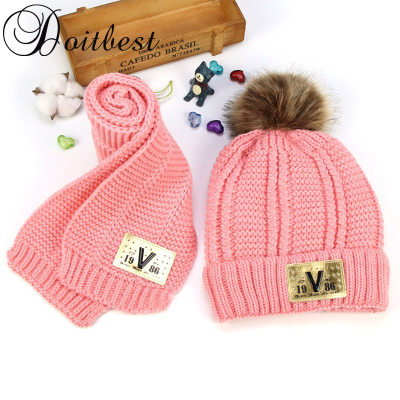 Doitbest 5-15 Years old Hairball beanies sets velvet wool kids Knitted fur hats winter 2 pcs boys girl scarf hat set child