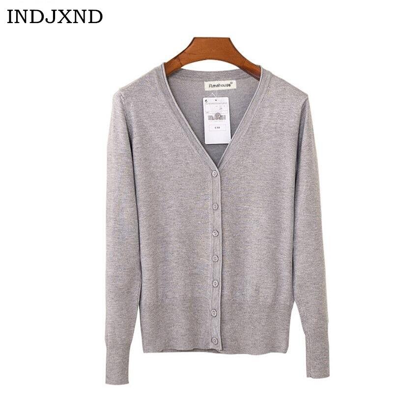 INDJXND Autumn Cardigan Women Casual Sweet Crochet Knitted Blouse Long-sleeve Tops Women Regular Sweaters Cardigans High Quality