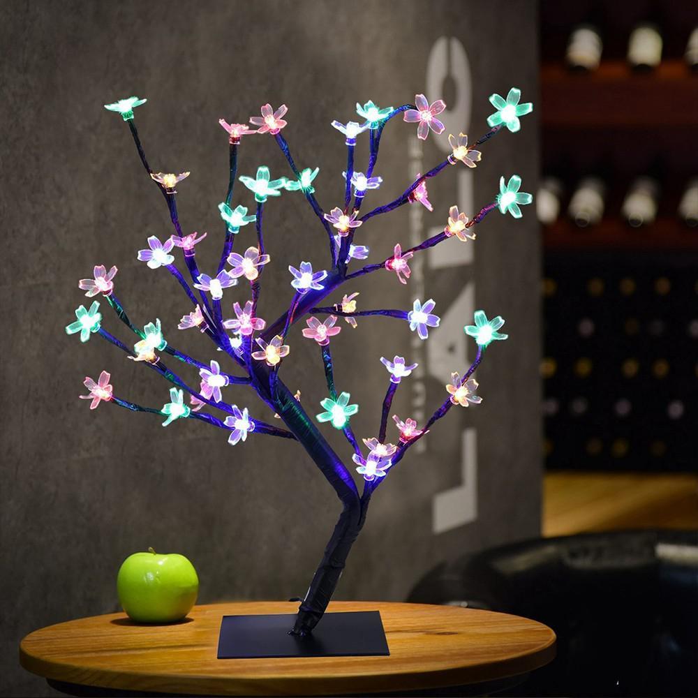 LumiParty 48 LED Simulate Potted Sakura Tree Light Night Lamp Home Festival Wedding Decoration