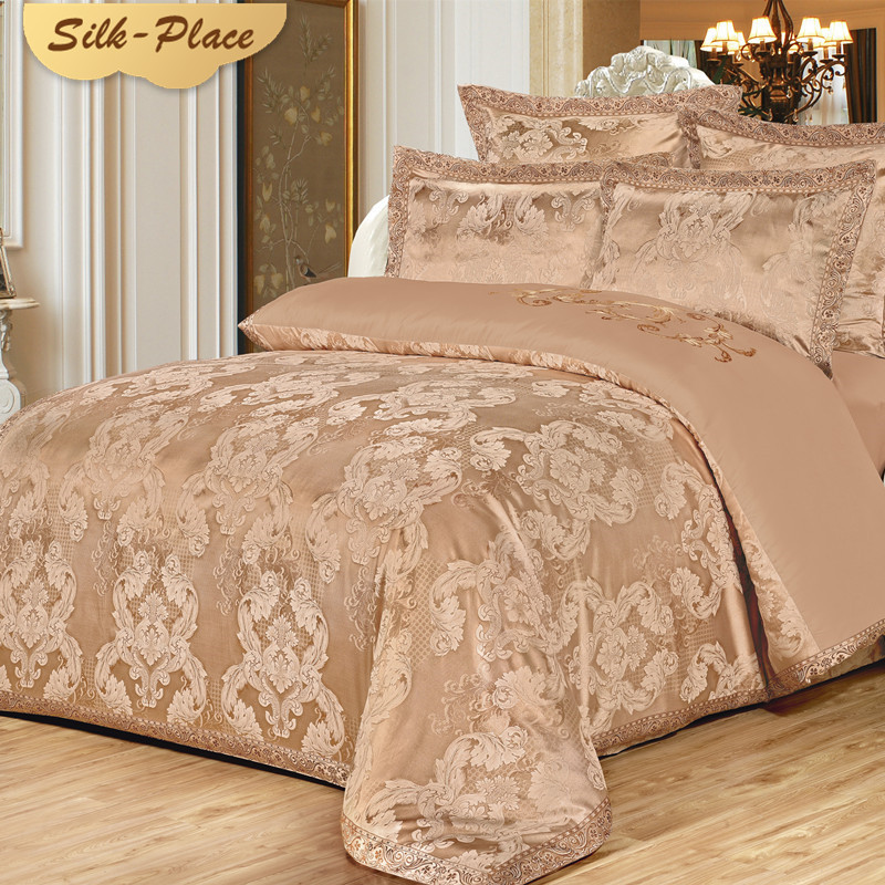 SILK PLACE Comforter Bedding Sets Satin Luxury Bed Sheet New Fashion Designer Jacquard Duvet Cover Set For Wedding 4-7PCS GiftSILK PLACE Comforter Bedding Sets Satin Luxury Bed Sheet New Fashion Designer Jacquard Duvet Cover Set For Wedding 4-7PCS Gift