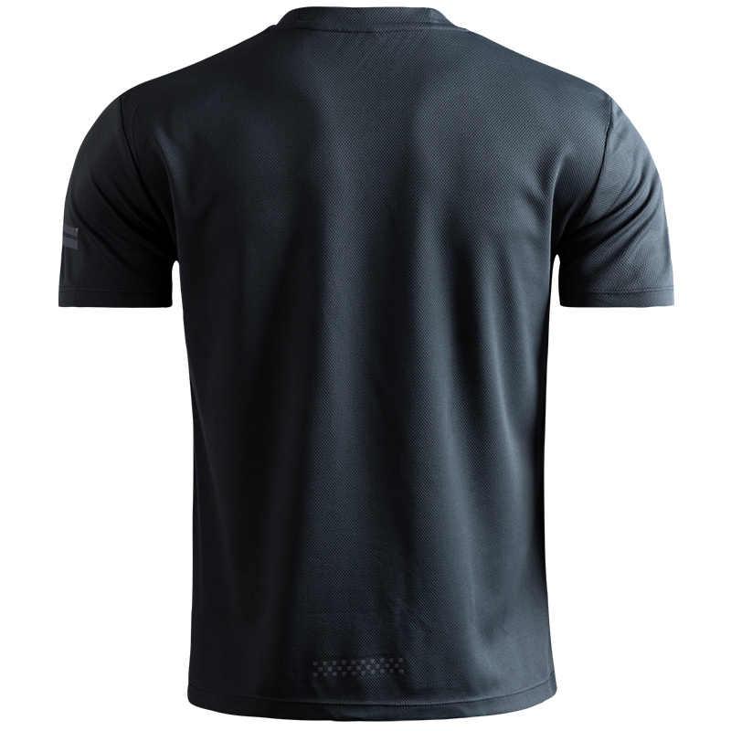 Özel LOGO nefes koşu tişörtü erkekler Tees Tops hızlı kuru kısa kollu spor spor T Shirt yansıtıcı şeritler spor