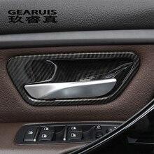 Стайлинга автомобилей углеродного волокна дверные ручки Обложки Обрезать наклейки для дверного кармана Накладка для BMW 3 Serise F30 3gt F34 интерьер авто аксессуары