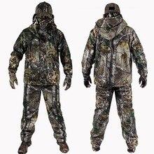 4 STÜCK Winter Bionic Tarnung Jagd Anzüge Outdoor Militärische Taktische Wandern Kleidung Jacke Hosen Windjacke Hoodie Handschuhe Hut