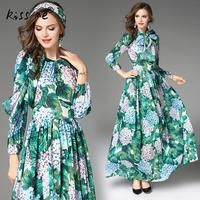 2017 Autumn Women Vintage Cotton Turquoise Printed Floral Pareo Beach Dress Boho Ankle Length Long Sleeves