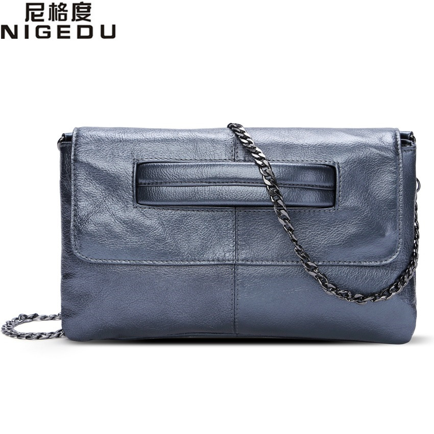 NIGEDU brand Genuine Leather women's envelope clutch bag Chain Crossbody Bags for women handbag messenger bag Ladies Clutches vintage womens envelope clutch bag pu leather women shoulder messenger bag chain crossbody bags bolsa feminina women s clutches