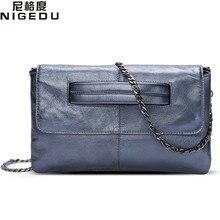 NIGEDU marke Echtes Leder frauen umschlag clutch bag Kette Crossbody Taschen für frauen handtasche umhängetasche Damen Kupplungen