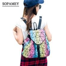 Sopamey женщины рюкзак женственный геометрический блесток женский Рюкзаки для девочек-подростков Bagpack drawstring сумка голографическая рюкзак