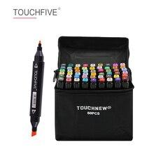 TOUCHFIVE 30/40/60/80/168 renk çift kafa sanat İşaretleyiciler alkol bazlı kroki İşaretleyiciler kalem çizim için animasyon sanat malzemeleri