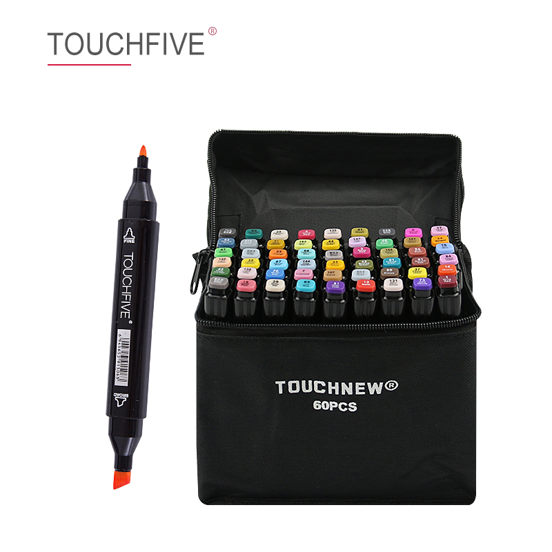 TOUCHFIVE 30/40/60/80 Colors Dual Head Art Markers Alcohol Based Sketch Markers Pen For Drawing Animation Art Supplies