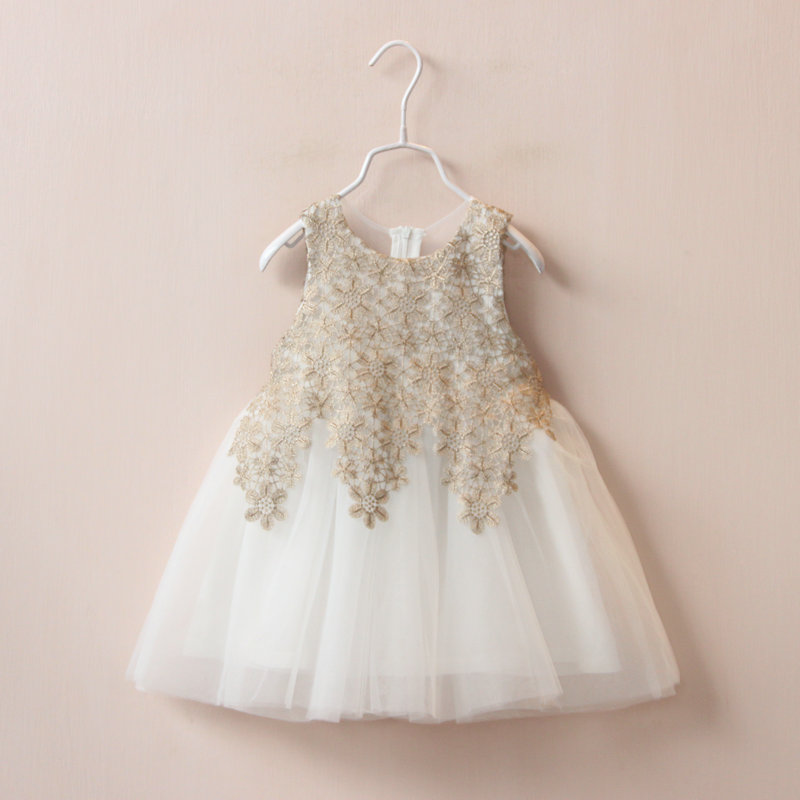 New 2016 Baby Girls Crochet Lace Tulle Dresses Kids Girl