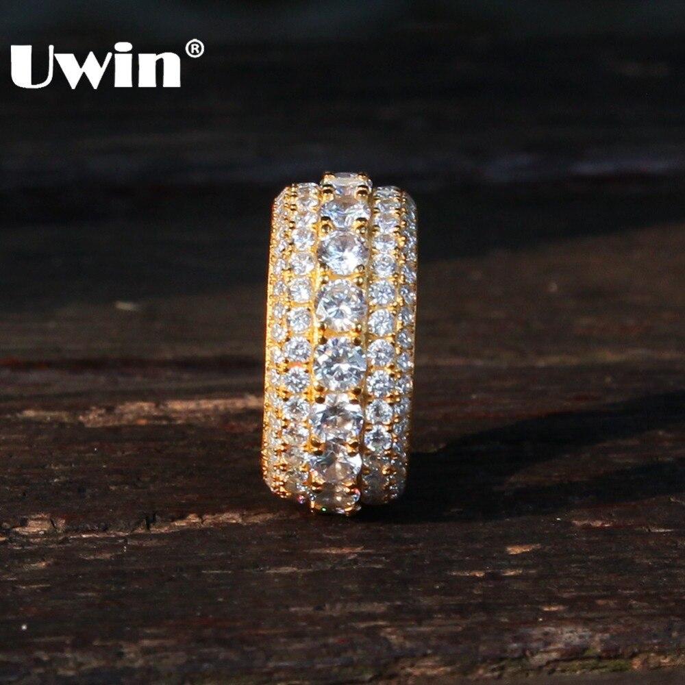 Uwin 100% véritable 925 bague en argent Sterling glacé CZ cercle rond bagues pour les femmes mode Hiphop bijoux cadeau de noël
