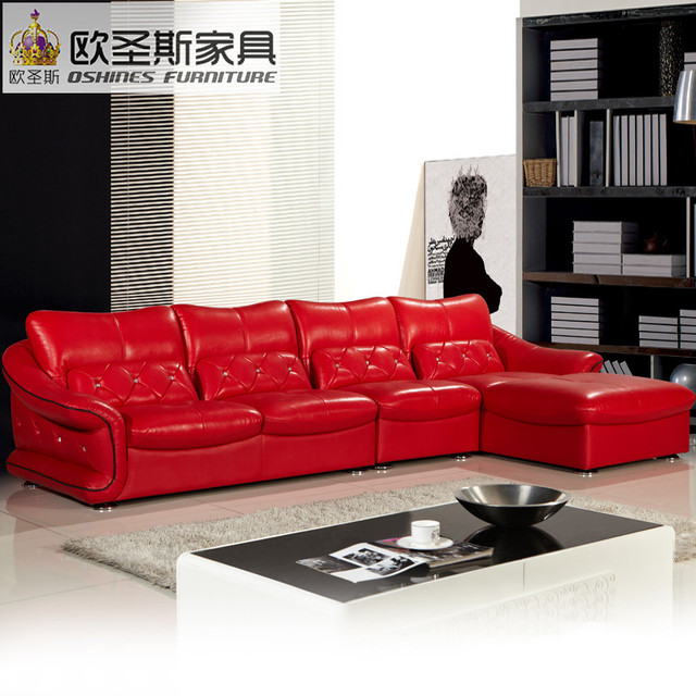Latest Design New Wedding Modern Sectional Corner L Shape Y Hot Red Leather Sofa Set