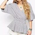 New Women's Summer Linen V Neck kimono Blusas Loosen belt Cardigan Kimono Blouse Femininas Stripe Half Sleeve Shirts Blusa