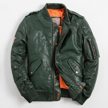 MA1 MA-1 Men's Genuine Leather Down Coats Avirexfly Leather Jacket Fashion Short Section Casual Coat Mandarin Collar MA1