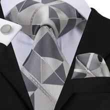 Hi-Tie Модный галстук мужские серые галстуки в клетку для мужчин 8,5 см шелковый галстук платок мужской деловой серый галстук набор SN-3071