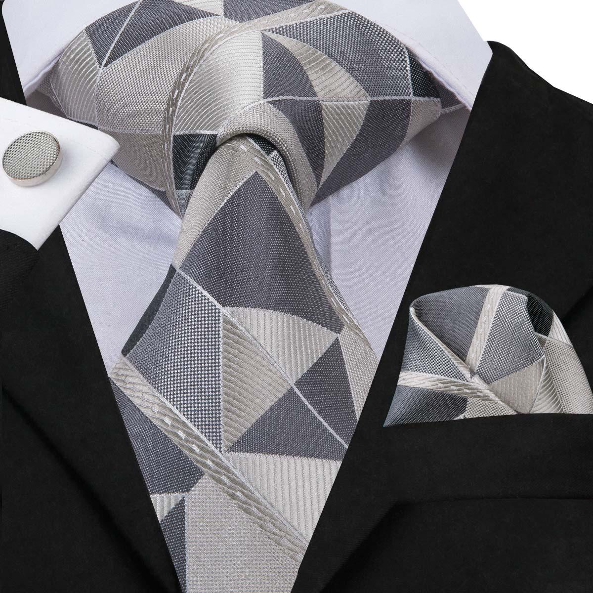 Hi-Tie 2019 Fashion Novelty Necktie Men's Grey Plaid Ties For Men 8.5cm Silk Tie Handkerchief Male Business Grey Tie Set SN-3071