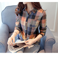 vetement femme 2016 Fashion Womens Blouses Long Sleeve Plaid Shirts Women Casual Linen College Style Blusas Plus Size blusa