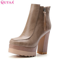 QUTAA 2018 Women New Fashion Ankle Boots Square High Heel Round Toe Zipper Design Platform Women Motorcycle Boots Size 34 42
