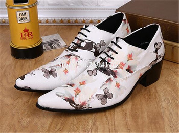 Men Unique Design Pointed Toe Lace-up White Flowers Butterfly Printed Leather Leisure Shoes Flat Shoes Wedding Shoes
