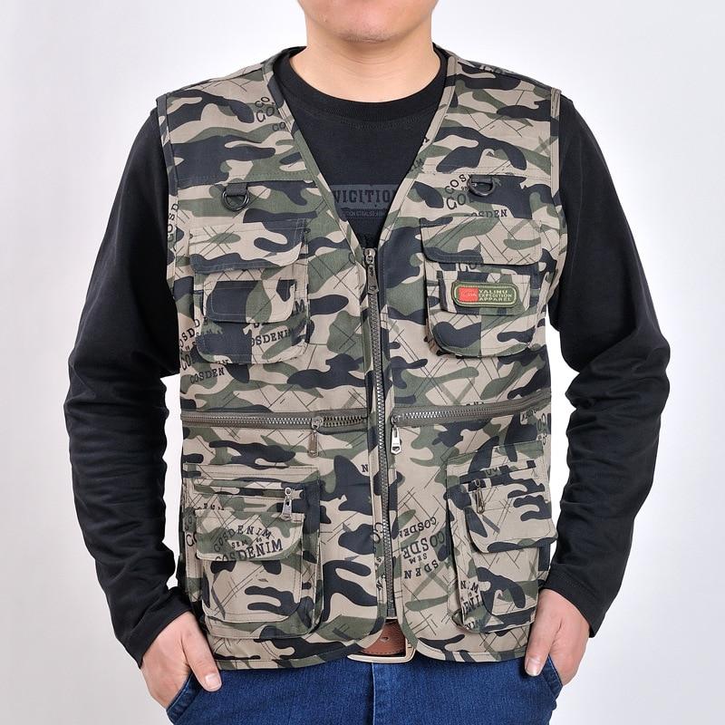 2018 Nuova Maglia Degli Uomini Della Tuta Sportiva Camouflage Gilet Multi-tasca Di Stile Breve Colete Cappotto Di Formato Asiatico