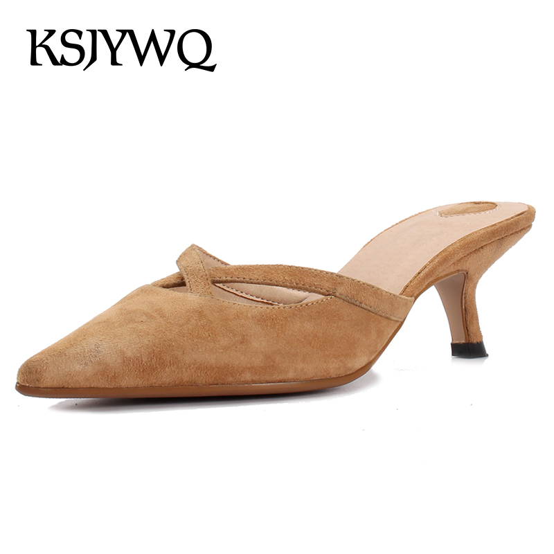 187f2d0ab9d5 KSJYWQ Sexy Pointed-toe Women Mules 5 CM High Heels Genuine Leather Summer  Slippers Party Pumps Woman Shoes Box packing XJ098 - aliexpress.com -  imall.com