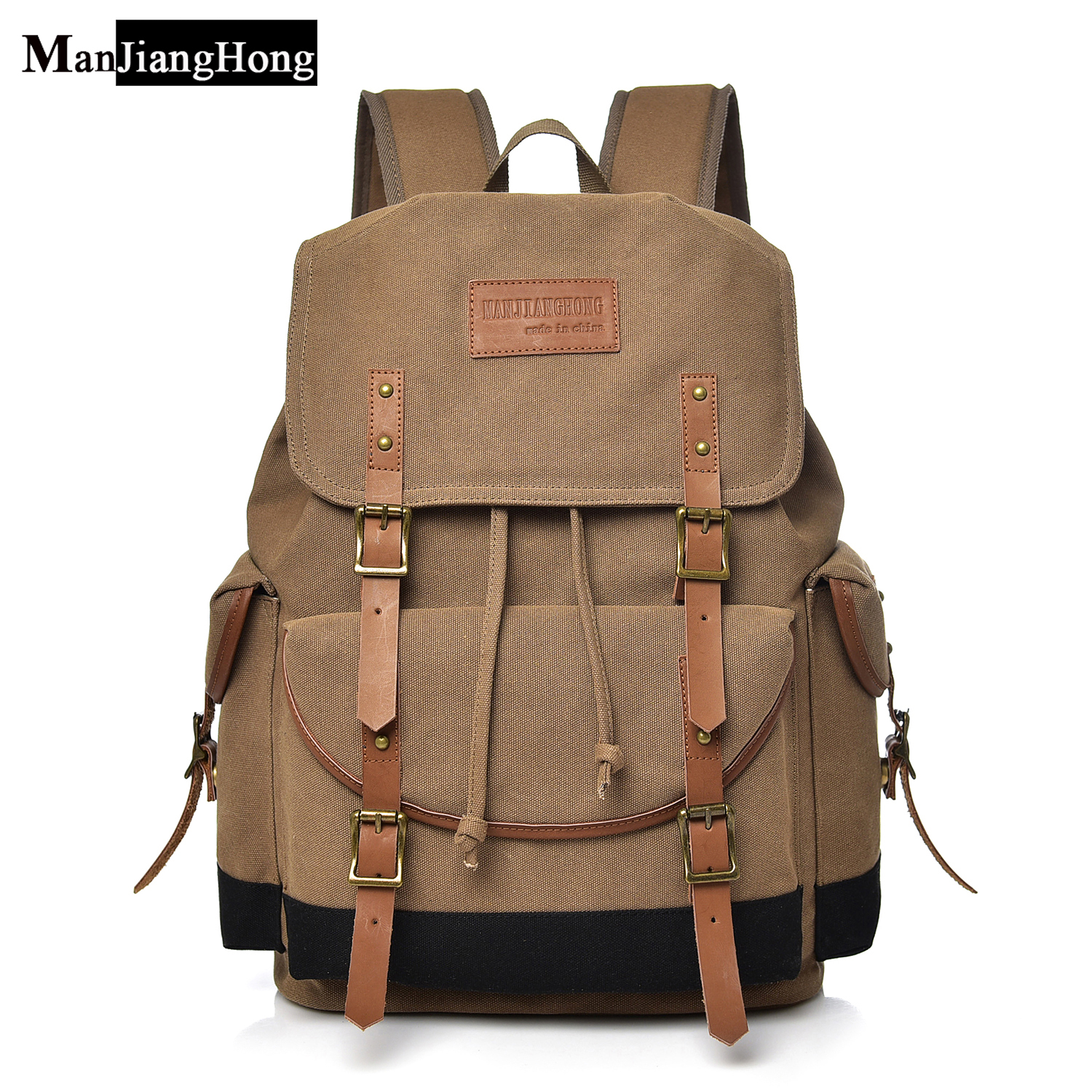 High Quality Vintage Man Canvas Backpack Famous Brand Double Shoulder Bag Schoolbag Casual  Backpack For Men College Students fengdong brand fashion men backpack college students bag korean version coated canvas retro shoulder backpack for men