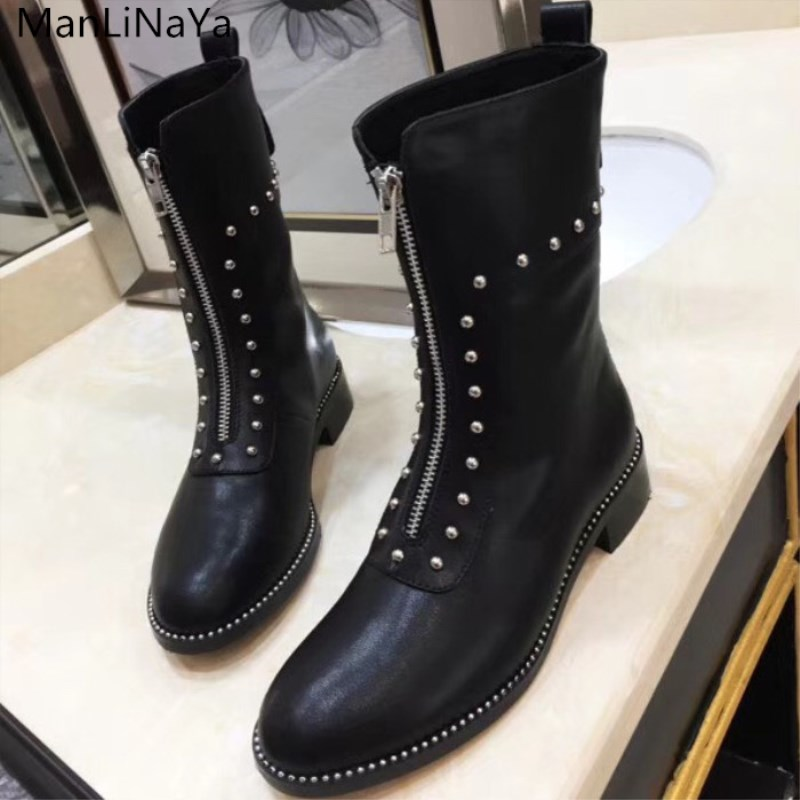 2019 latest luxury design ladies flat and ankle boots rivet Martin boots front zipper boots motorcycle  fashion  womens  shoes 2019 latest luxury design ladies flat and ankle boots rivet Martin boots front zipper boots motorcycle  fashion  womens  shoes