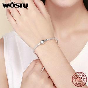 Image 2 - Женский браслет WOSTU, из серебра 925 пробы с надписью «Forever Love», оригинальный бренд, сделай сам, бусины Подвески Украшения CQB105