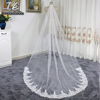 Cathedral Length Applique Lace Real Lace Wedding Veils With Comb One Layer Lace White Ivory Bridal