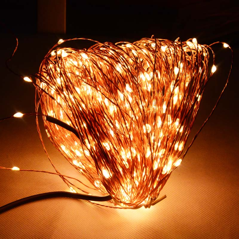 High Quanlity 50M 500 LED Copper Wire Fairy Xmas Wedding Festival String Lights Power Adapter