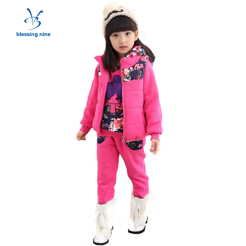 Girls Boutique Clothing Sets New Child Winter Korean Kids Set Clothes for Girl Plus Velvet 3 Pieces Thicker Sweater+Vest+Pants 20cm plush cartoon red blue owl toy pendant stuffed dolls baby kids children kawaii gift toys home shop decoration triver