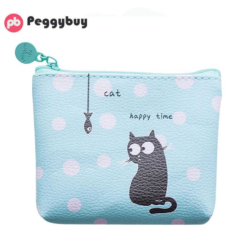 Korean Printing Zip Clutch Women Coin Purse Small Wallet Leather Card Bags Teen Girls Casual Simple Cute Clutch Bag Women